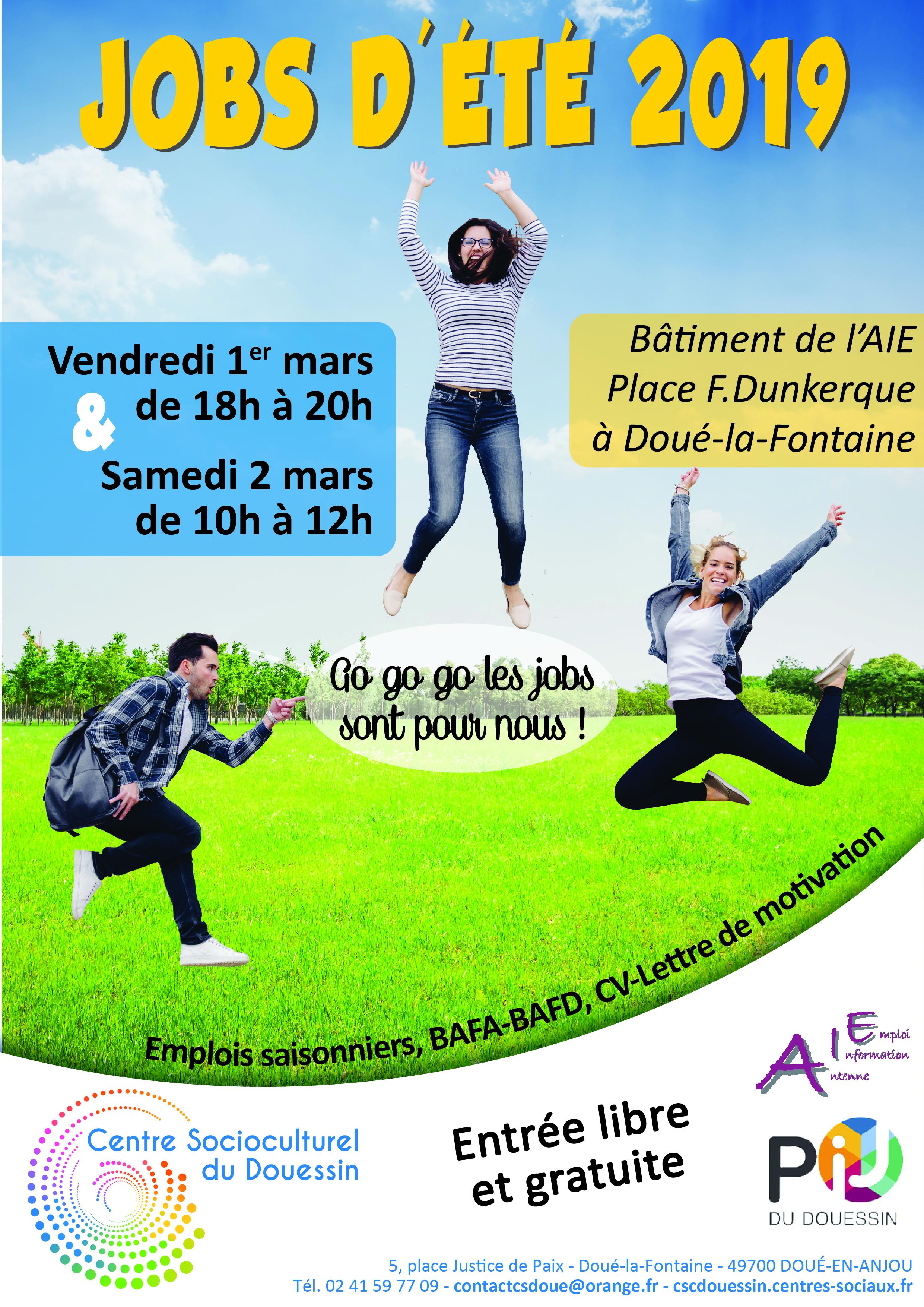 Jobs d'été 2019 : 2 dates pour accueillir les jeunes de 16 à 25 ans ! | Centre Socioculturel du ...